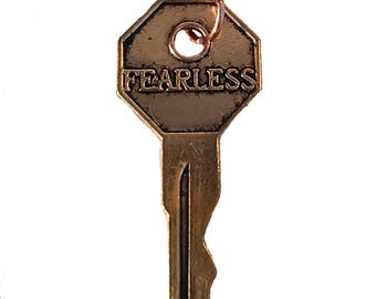 Fearless Key Charm, Fearless Key Pendant, Fearless Quote Key Charm, Inspirational Key