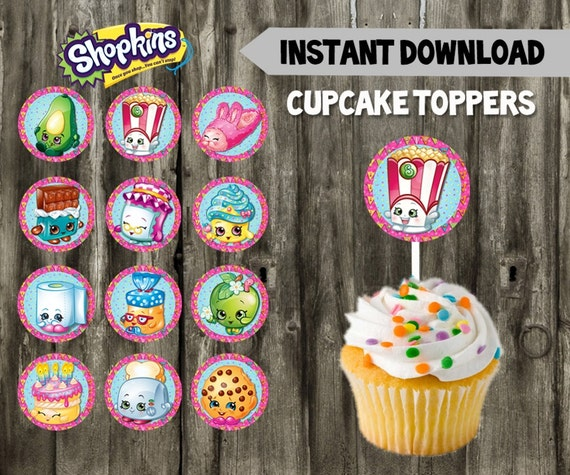 Shopkins Cupcake Toppers // DIY // 12 Shopkins Party Cupcake