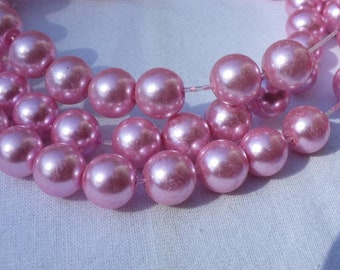 50 glass Pearl 10 mm pink beads
