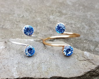 Toe Knuckle Midi Adjustable Ring ,Sterling Silver Wire ring, 12K Gold Filled Wire ring with Light Sky Blue Swarovski crystals