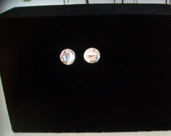 with mirror effect rhinestone Stud Earrings
