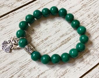 Green Mashan Jade Beaded Bracelet
