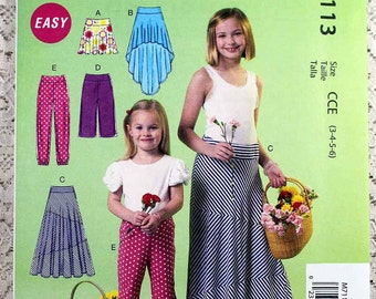 McCall's 7113, Children's Skirt and Pants Sewing Pattern, Easy Sewing Pattern, Child's Pattern, Child Size 3, 4, 5, 6, Uncut