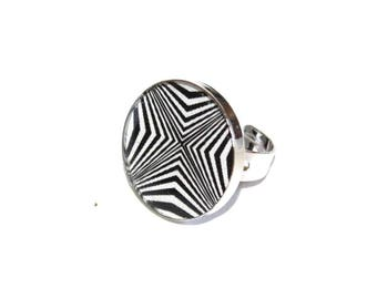 Recycled cardboard and resin Zebra ring