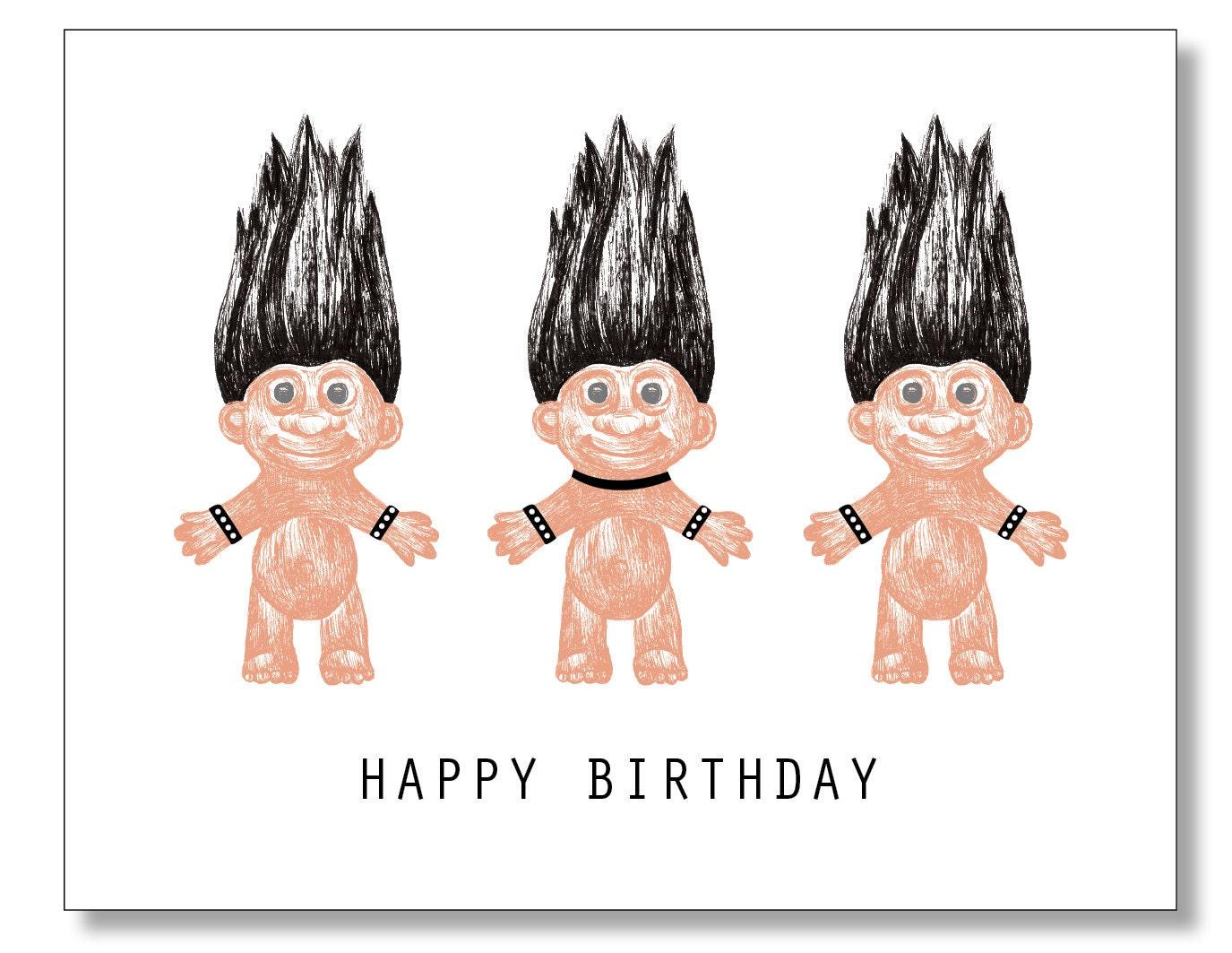 Goth troll dolls happy birthday card industrial heavy metal zoom kristyandbryce Images