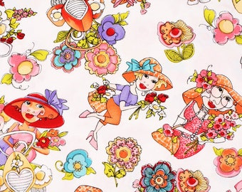 Blossom Toss Loralie Harris Ladies Fabric by the Half Yard