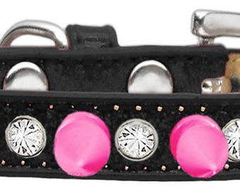 Bling Crystal and Hot Pink Spikes Dog Collar  Choose Size and Color