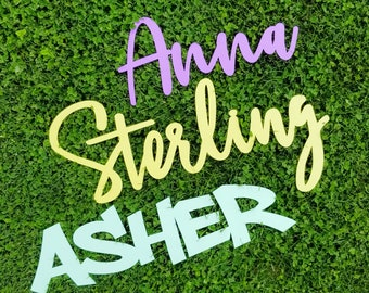 Painted Name Sign for Nursery - Wooden Name Sign - Painted Wood Baby Name Sign - Wood Name Sign for Nursery