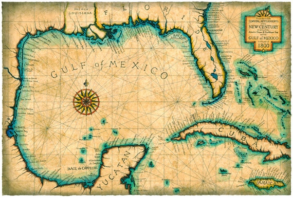 Gulf and Caribbean Map Art c 1800 Old Maps Cuba Florida