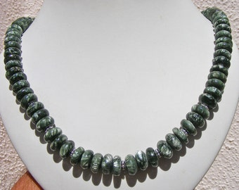 SERAPHINITE NECKLACE, AAA Quality, 12mm Rondelle Beads, Sterling Silver, Adjustable Length