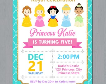 Disney princess birthday invitation disney princess disney princess birthday invitation disney princess invitation princess invitation girls birthday invitation digital file stopboris Images