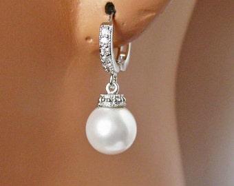 Cubic Zirconia Wedding Earrings, Bridal Earrings, Swarovski Crystal White Pearls, Bridesmaid Earrings, Wedding Gift