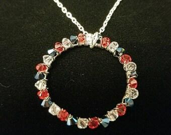 Red, White, and Blue Swarovski Necklace