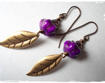 Grape and Leaf earrings long dangle earrings for women purple violet bronze brass antiqued leaves beaded beadwork inspired by forest nature