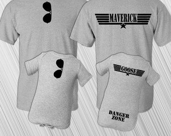 Father Son Matching Shirt Set | Maverick And Goose | New Baby | Father's Day | Daddy and Me | Bodysuit | Baby's First Christmas | Top Gun