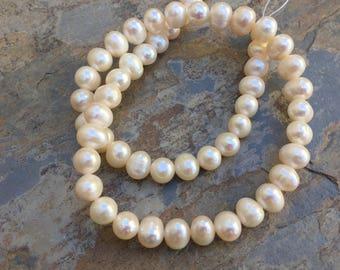 Potato Pearl Beads, Creamy White Potato Pearl Beads, Large White Pearl Beads, 16 inch strand, 10 x 8mm