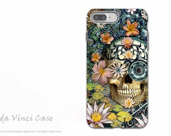 Apple iPhone 6 Plus - 6s Plus Case - Floral Sugar Skull - Dia De Los Muertos iPhone 6s Plus Skull case - Dual Layer TOUGH Case