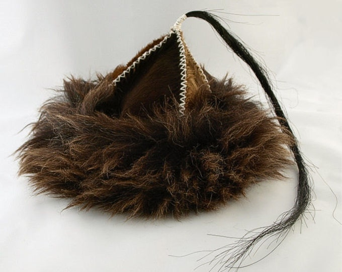 Historical leather hat with horse tail