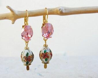 Oriental Pink Earrings - Rhinestones and Metal