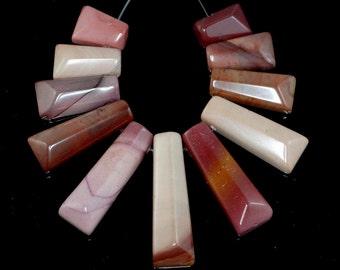 40x12-15x11mm Mookaite Gemstone Brown Rectangle Graduated Set 11 Beads (90183912-367)