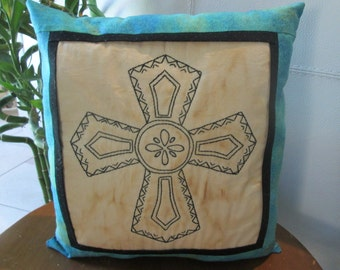 Spanish Cross - Hand Embroidered Room Accent - Southwest Room Accent - Rustic Decor - Primitive Pillow - Hand Embroidered Decorative Pillow