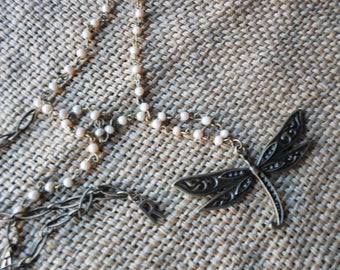 Vintage brass Dragonfly in crystal beaded chain
