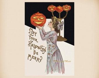 Halloween Pumpkin Lady New 4x6 Vintage Postcard Image Photo Print HA04