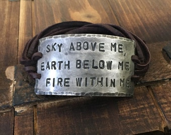 Sky Above Me Earth Below Me Fire Within Me leather ID wrap Bracelet, Pewter, silver, Aviation, Flying, Hand Stamped, Inspirational jewelry,