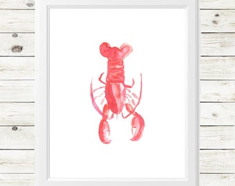 summer watercolor print - summer lobster print - watercolor lobster print - watercolor lobster - watercolor lobster art print