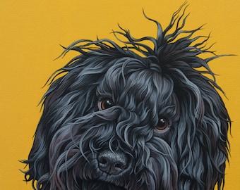 Custom Pet Portrait, 12x16 Painting of Your Pet, Puli Dog Art, Unusual Dog Breed Portrait, Puli Puppy Painting, Dreadlock Dog, Hand-Painted