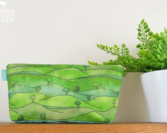 Countryside Toiletry Wash Bag / Rolling Hills Makeup Bag / Pencil Case / Zip Bag