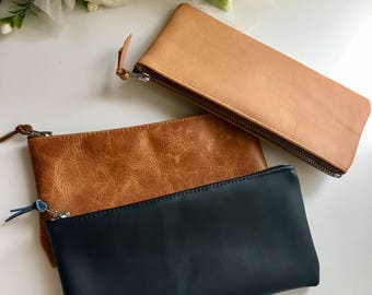 Leather Pencil case / navy leather pencil case / Small zipper pouch/ leather pencil case / cosmetic bag / makeup bag
