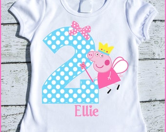 Custom Personalized Peppa Fairy Pig Birthday tee shirt Aqua polka dot and pink