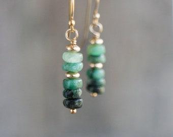 Raw Emerald Earrings - May Birthstone
