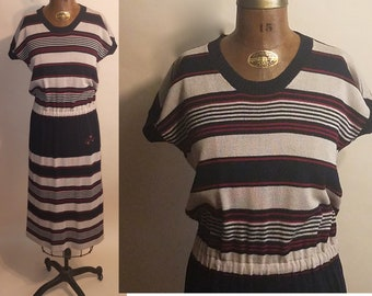 Vintage 1990's Striped Chic 90's Valentino Tricots Striped Knit Stretchy Fitted Womens Dress - M