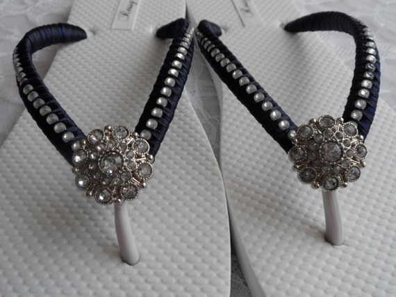 0634fe5e0 ... Flops Flops Flops Flip Blue Flip Rhinestones Flops Bridesmaids Flip  Wedding Flip Colors Bridal Navy Beach ...