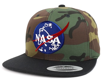 NASA Insignia Patch Two Tone Camo Black Flatbill Snapback Baseball Cap (FLEX-6089TC-INSIGNIA)