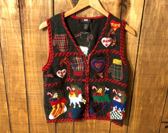 Vintage 90s Cute Kitschy Tacky Christmas Sweater Vest Ugly Sweater Party