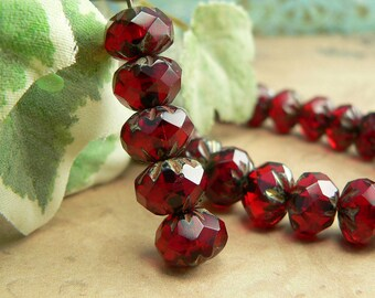 Red Czech Glass Beads Cruller Carved Rondell Garnet Picasso 9x6mm Fire Polished (12)