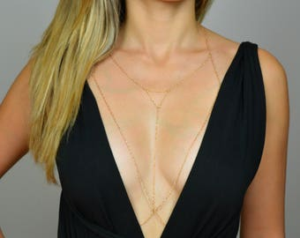 Layered Gold Chain / Gold Body Chain / Gold Chain Bra/ Body Harness / Body Jewelry / Gold Bra Chain/ Layered Gold Chain bralette/ gold chain