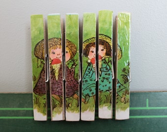 Friends Eating Ice Cream, 6 Upcycled Vintage Wooden Clothespins Made from a Vintage Children's Book Page