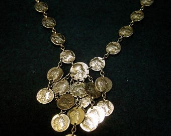 Ornate Gilt Metal Dangling Coin necklace c 1970s