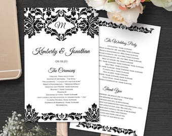 Wedding fan program, wedding fan program template, fan weddingprogram template, printable, editable text, instant download, damask