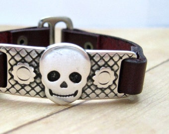 Burgundy Leather Skulll Bracelet,  Skull Jewelry, Maroon Leather Cuff