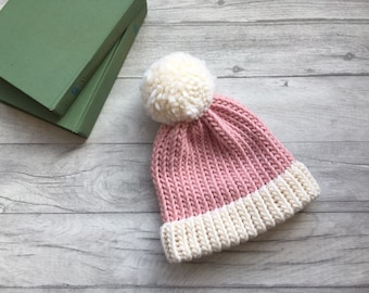 Pastel pink knitted hat inspirational womens gift inspirational kids gift chunky knit hat skiing hat hat with pom pom adults beanie hat uk