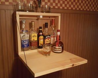 Rustic Murphy Bar Man Cave Liquor Cabinet Game Room Fold Up Bar Wallmount