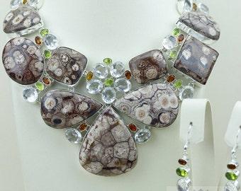 MASSIVE Size! Mexican Birds Eye Jasper 925 S0LID Sterling Silver Necklace + Earrings N490