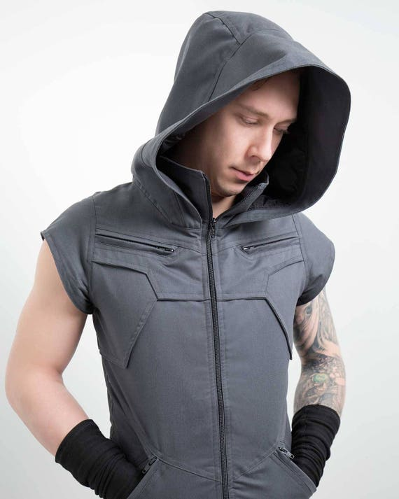 Crisiswear Rogue Cowl MKII - Hooded Adjustable Cyberpunk Style Black Gray Olive Cotton Build Style Unisex Mens Womens One size Goth RKCwDKj