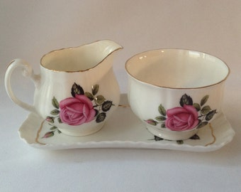 "Royal Adderley ""American Beauty"" Creamer and Sugar with Tray"