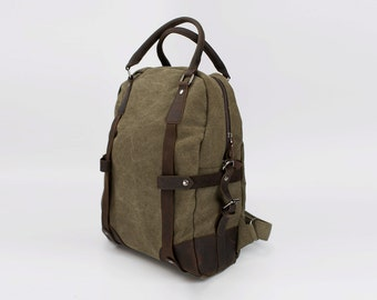 Vintage style Military Leather Canvas Backpack (Olive)